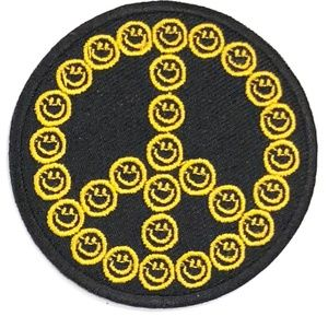 Accessories - Peace sign patch iron on hippie smiley face DIY
